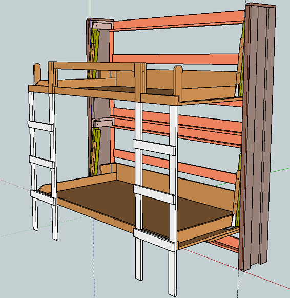 Stacked Twin Murphy Bed | Ana White | The basement project
