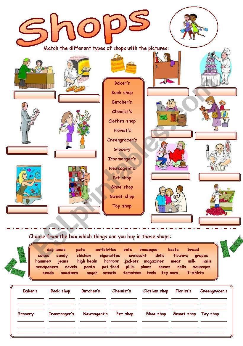 Types Of Shops Worksheet Teach English To Kids English Lessons English Worksheets For Kindergarten [ 1169 x 821 Pixel ]