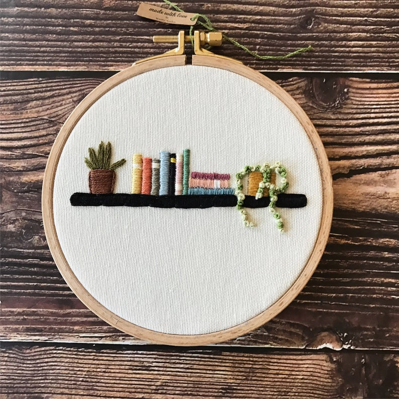 Photo of Bookshelf Embroidery Hoop Art, Book Lover Gift, Housewarming Gift, Embroidered Books