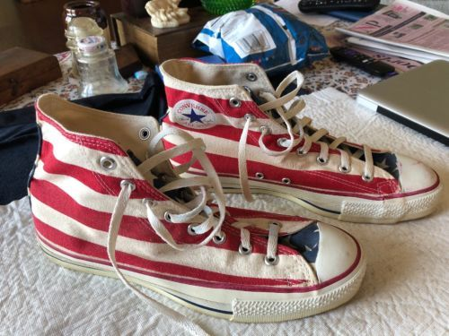 ae1d2855449519 Vintage CONVERSE ALL STAR MADE IN USA FLAG Theme CHUCK TAYLOR MEN S Size 9
