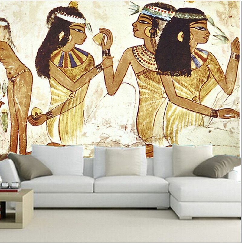 Custom 3d large mural 3d the ancient egyptian maid murals for Egyptian mural wallpaper