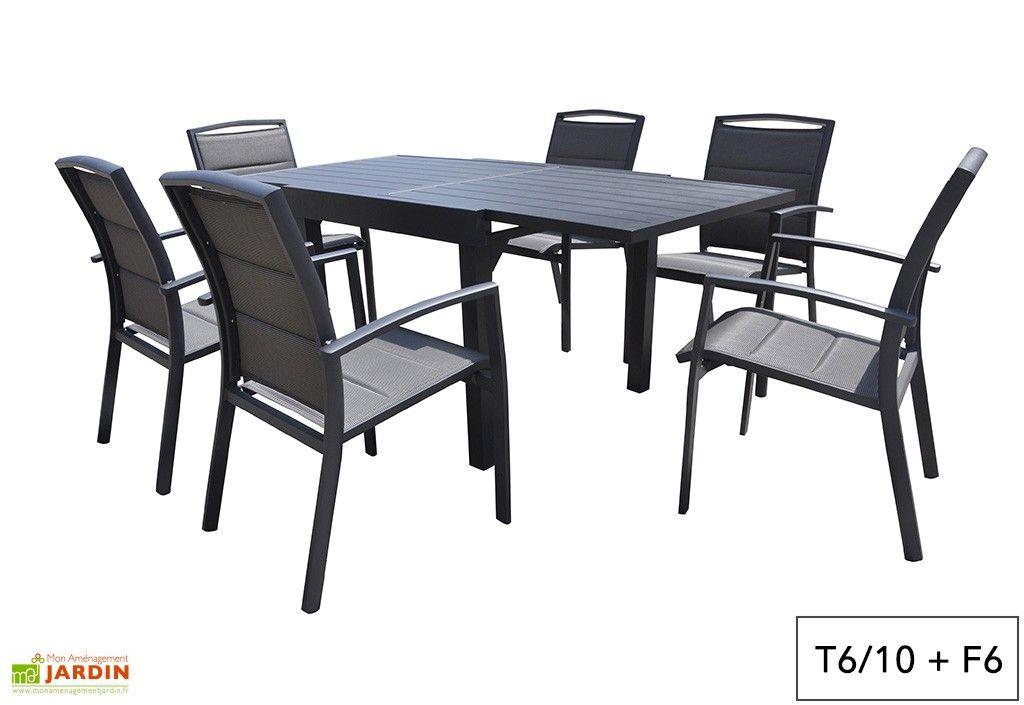 Salon De Jardin Aluminium Modulo Gris Anthracite Tb Ft Table