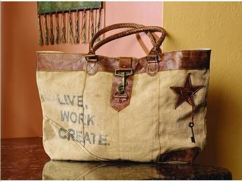 """Live, Work, Create"" Wide Canvas Bag 19x12x4"