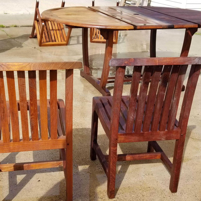 This Teak Furniture Was Stripped Brightened Restored With Our Proprietary Deck Restoration Plus Deck And Teak Furniture Staining Wood Furniture Restoration