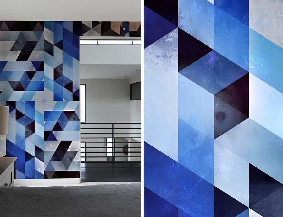 generate a captivating accent wall with geometric pattern wall