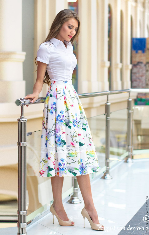Купить Летняя юбка в миди длине - эксклюзив, цветочный, юбка, юбка миди, юбка хлопок