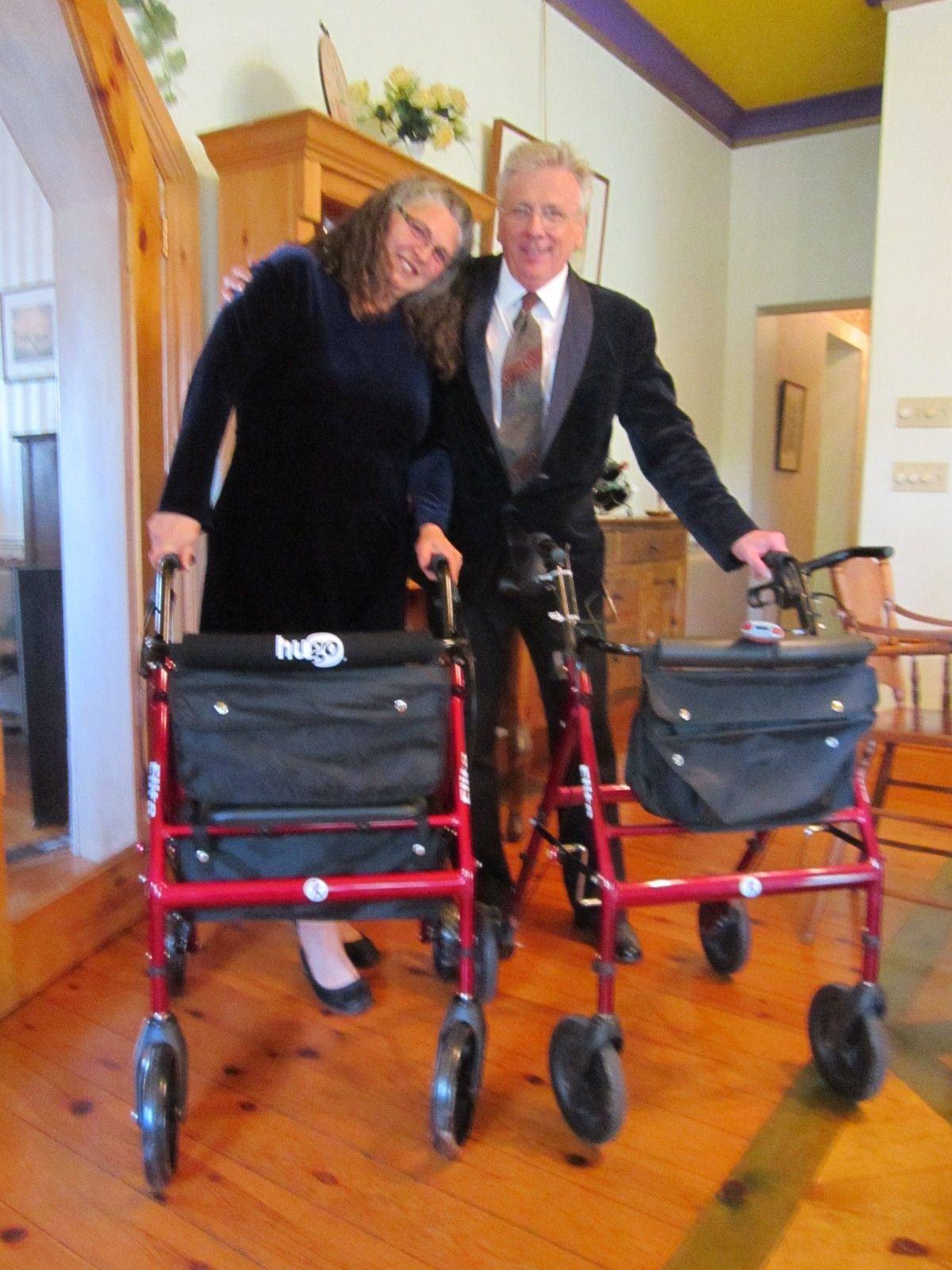 Bob Hardy and Alice Nicolaou in matching Hugo Elites. She uses her rollator to help recover from hip replacement surgery and lose the weight she put on during her period of inactivity.