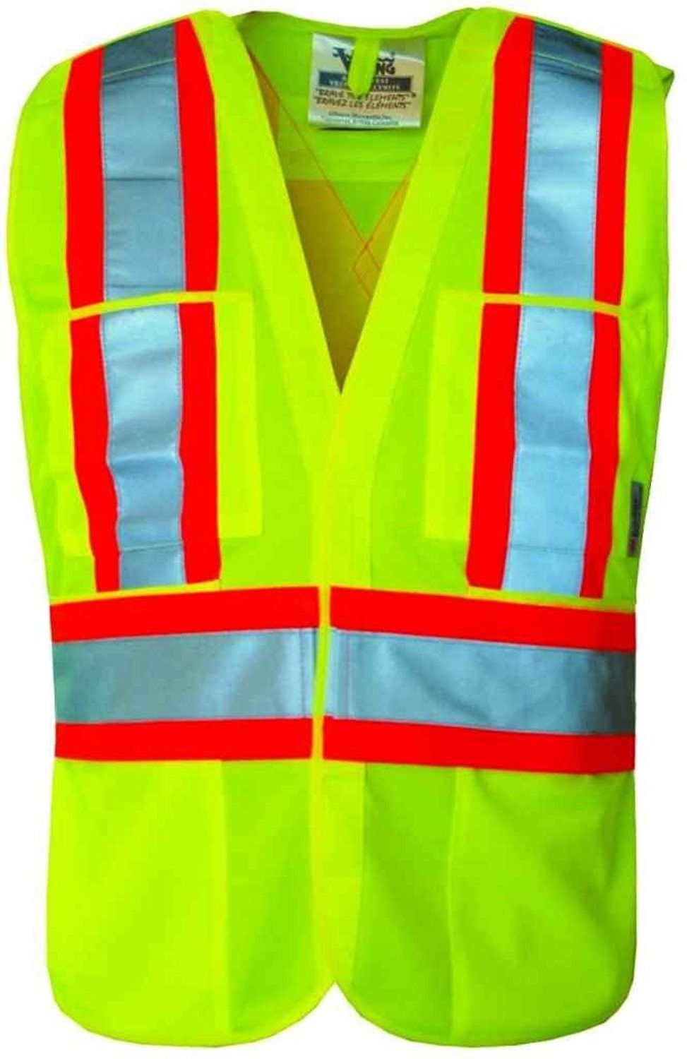 5 Point Tear Away Safety Vest Fluorescent Green
