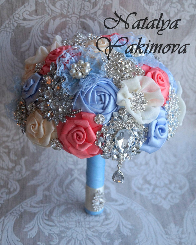 Brooch Bouquet, Bridal Bouquet, Wedding Bouquet, Fabric Bouquet ...