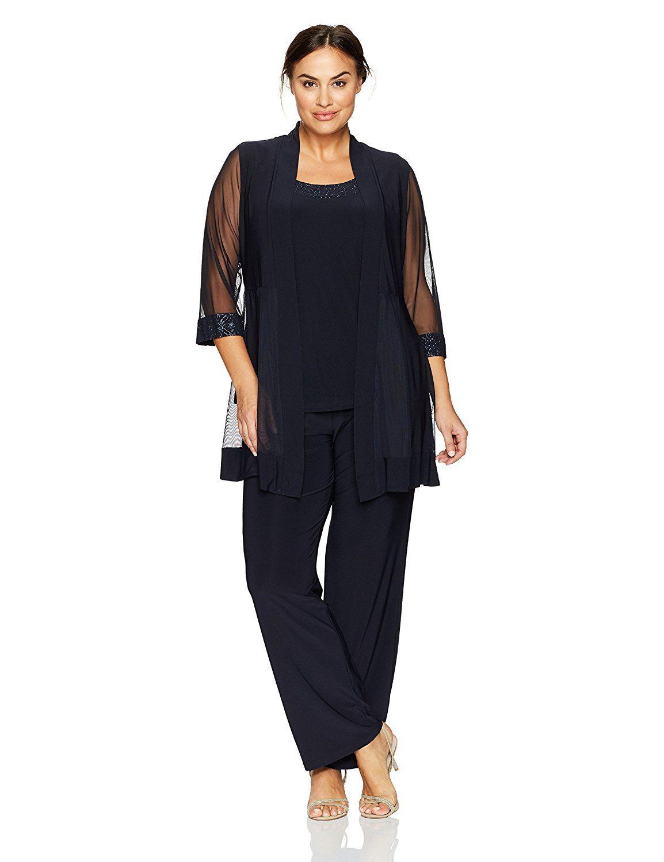 f417fe5633f R M Richards Women s Plus Size Sheer Panel Pant Set at Amazon Women s  Clothing store