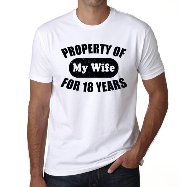 #tshirt #husband #love #anniversary  It's time to celebrate your anniversary! Find a special gift for your husband ->https://www.teeshirtee.com/collections/wedding-anniversary-mens-t-shirts/products/property-of-my-wife-for-18-years-wedding-anniversary-tshirt-mens-t-shirts-short-sleeve-rounded-neck-t-shirt