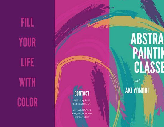Colorful Brushstrokes Creative Trifold Brochure Canva Inspiration