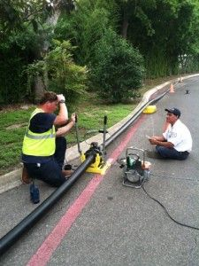 Here our guys are replacing 140ft of sewer line by using pipe bursting method at McNay Art Museum San Antonio, Texas.