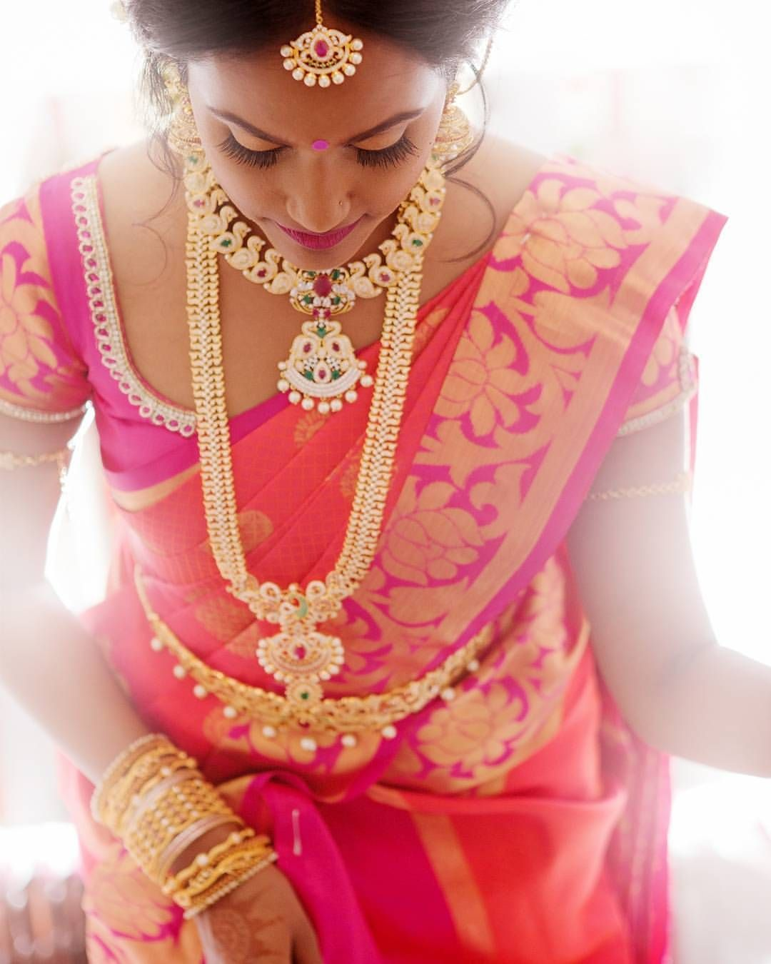 Saree for women wedding south indian bride gold indian bridal jewelrytemple jewelry