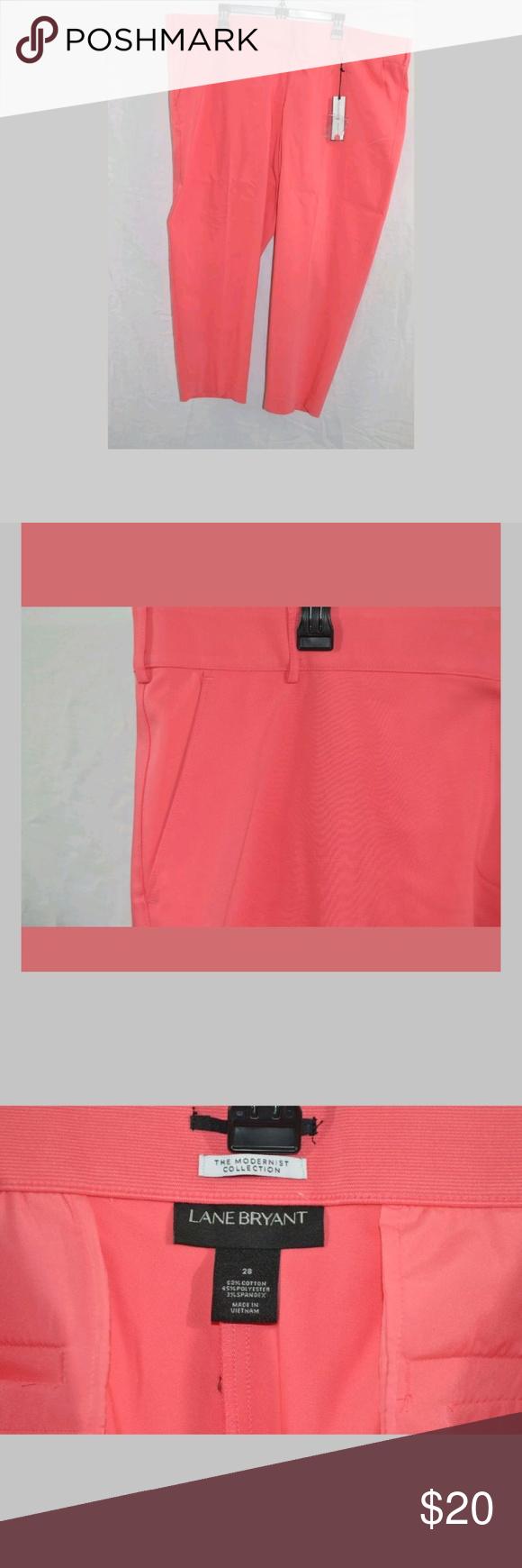 Lane Bryant Dress Pants The Modernist Collection Ankle Crop Coral Orange Sz 28 W