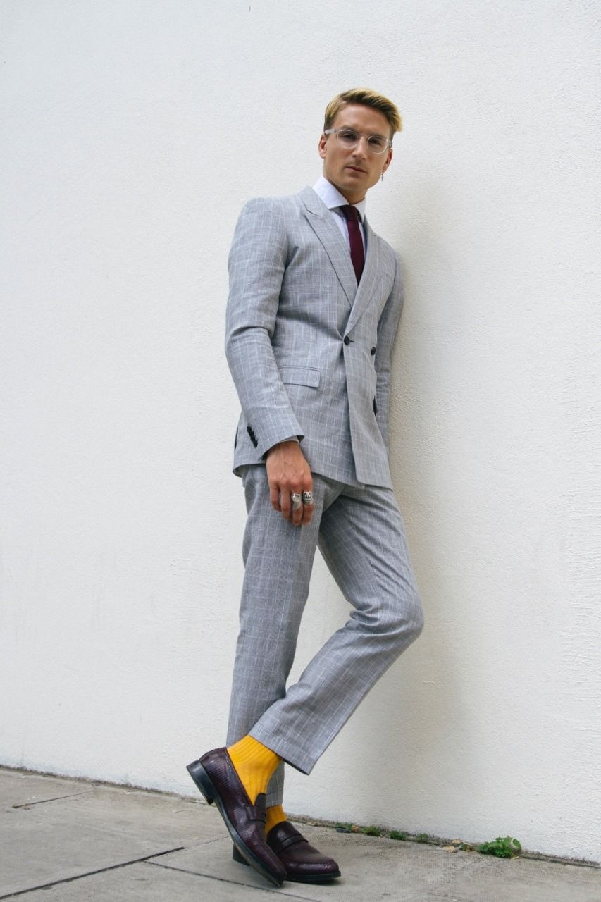 Topman Grey Checked Suit With White Mens Shirt Red Tie And Yellow