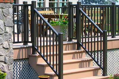 Aluminum Railing Stair Railings Deck Railings Fencetown | Aluminum Outdoor Stair Railing | 2 Step | Pressure Treated Deck Black | Commercial | Modern | Front Entrance
