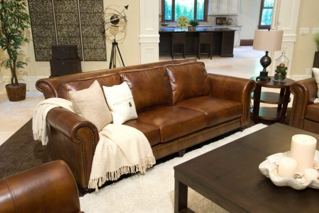 Awesome Rustic Leather Couch With White Cushion Combined Black Stained Walnut Coffee T Top Grain Leather Sofa Leather Sofa And Loveseat Brown Leather Furniture #rustic #leather #living #room #furniture