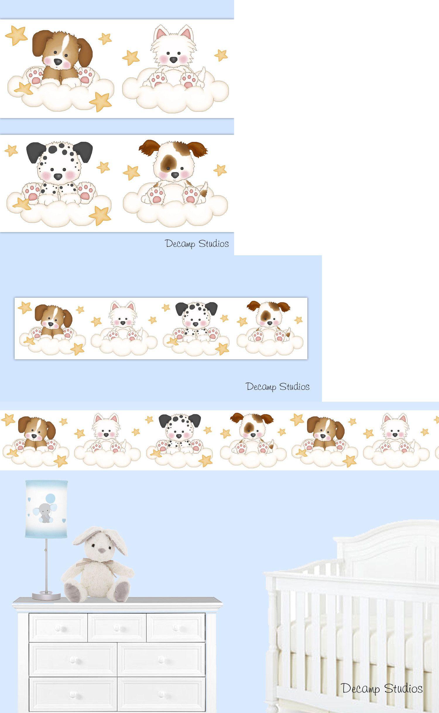 Wallpaper Borders 37636 Puppy Nursery Wallpaper Border Cloud Stars Wall Art Baby Stickers Kids Dog Room Baby Wall Art Nursery Wallpaper Border Baby Room Decor