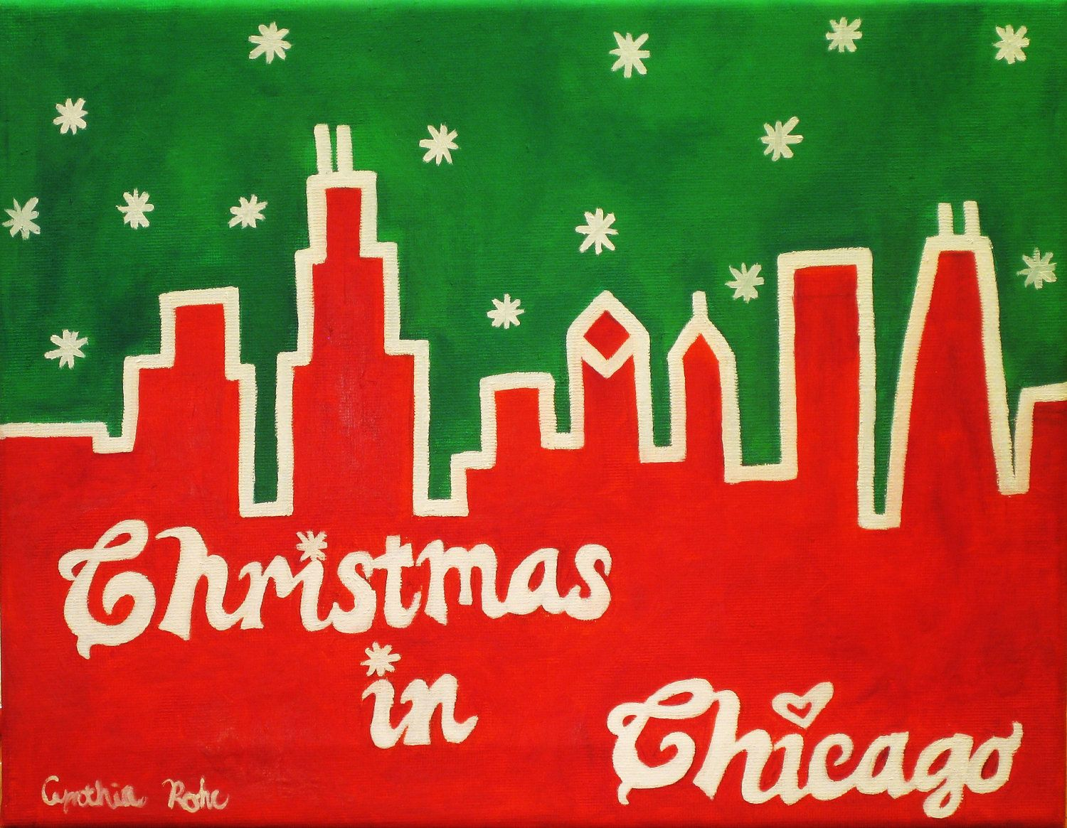 11x14 Christmas oil painting, red and green painting on cavnas, Christmas in Chicago, white snowflakes, Chicago skyline, original painting. $40.00, via Etsy.