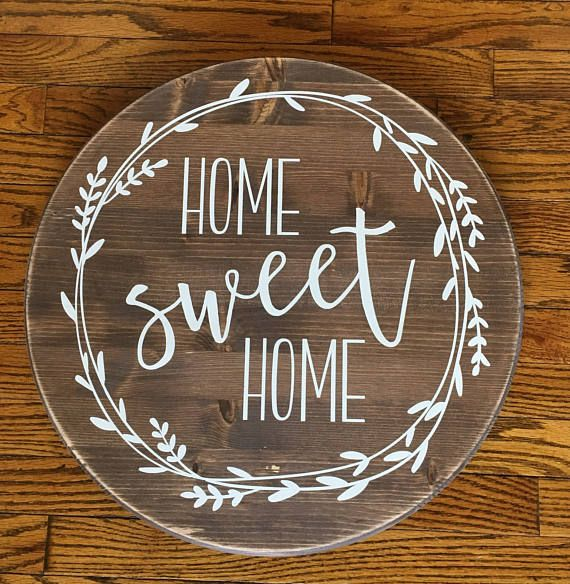 Home Sweet Round Wood Sign Farmhouse Decor Rustic