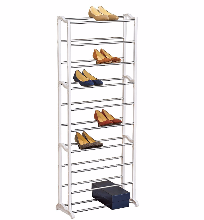 Shoe Storage Rack Organizer Steel 30 Pair Unit Shelving Tower Design Lynk 30 Pair Shoe Rack Is An Excellent Solution For A Narrow Vertic Schuhregal Regal Weiss
