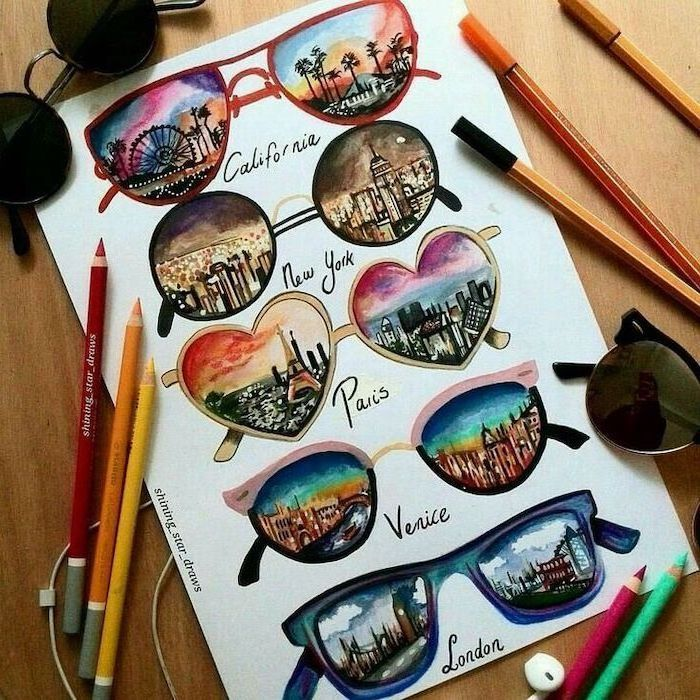 easy drawings for beginner, famous cities skylines, through glasses, colourful drawings, white background