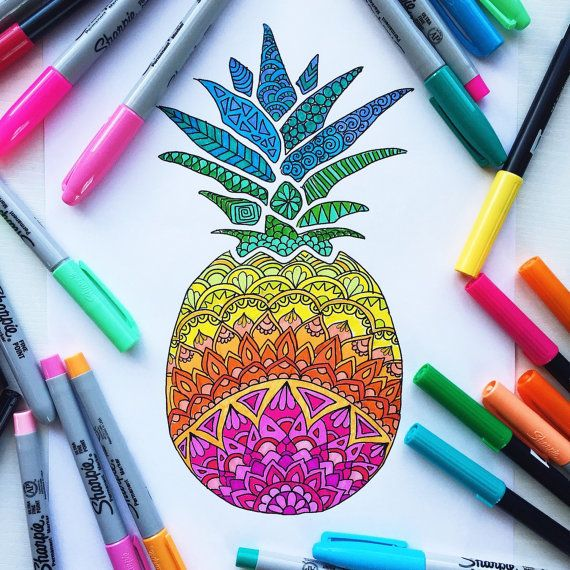 Downloadable coloring page, Pineapple adult coloring page ...