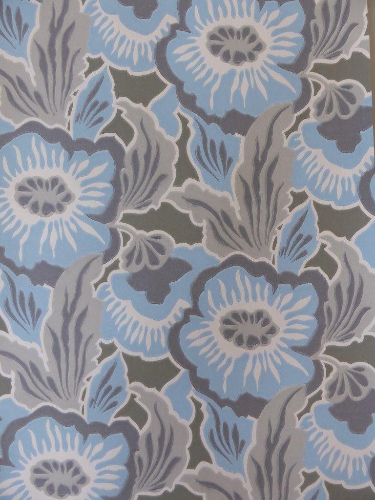 Ordinaire Papier Peint Fleuri Vintage #11: Papier Peint Fleuri Bleu Gris