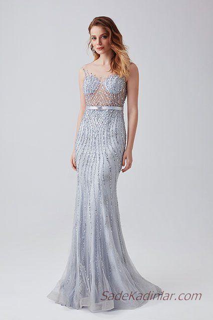 2019 Abiye Elbise Modelleri Mavi Uzun Kolsuz Transparan Yaka Boncuk Islemeli Elbise Modelleri Elbise Moda Stilleri