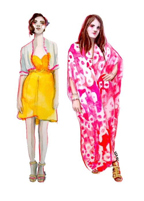cartoon @Amanda Halbrook and I in the new Rue Mag sporting neon!