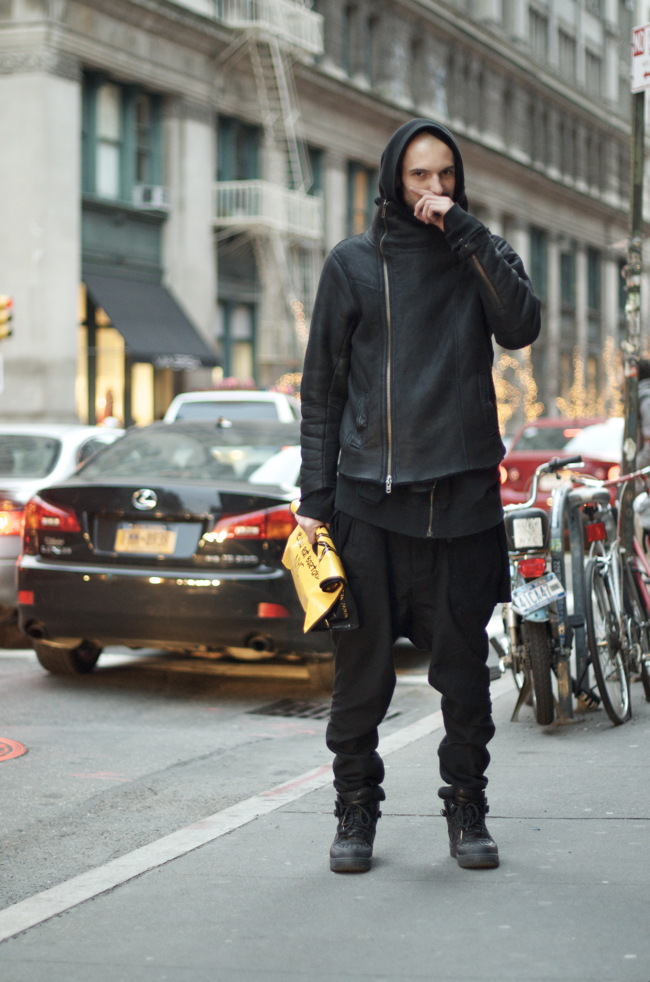 Love this look!   name : Pierre Yves  occupation : Designer  jacket, pants : All Saints  hoodie : Givenchy  cardigan (on his waist) : COS  shoes : Nike  An Unnown Quantity: Wataru Bob Shimosato