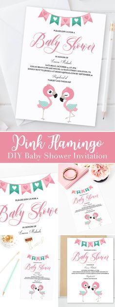 Pink Flamingo Baby Shower Invitation Template  Invitation