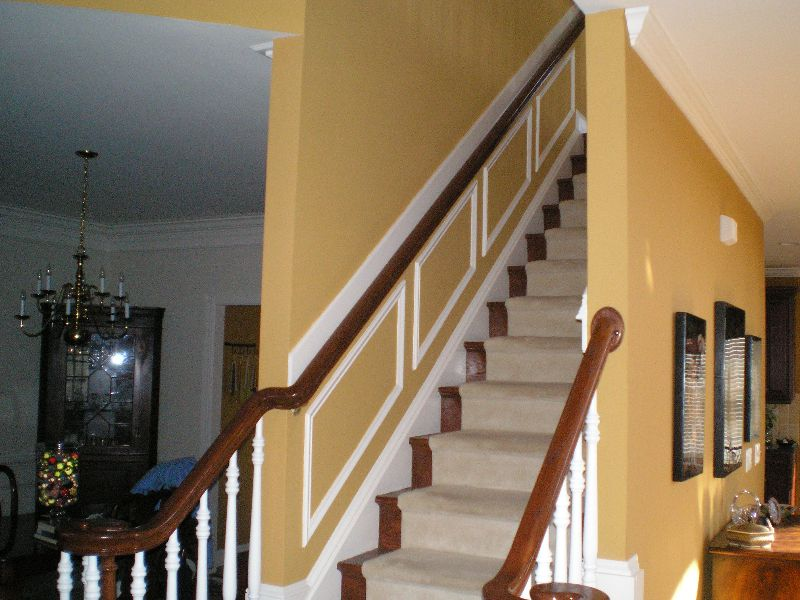 Chair Rail Going Up Staircase Part - 27: Trim Up The Stairs On The Railing Side- Imagine If It Was All White Below