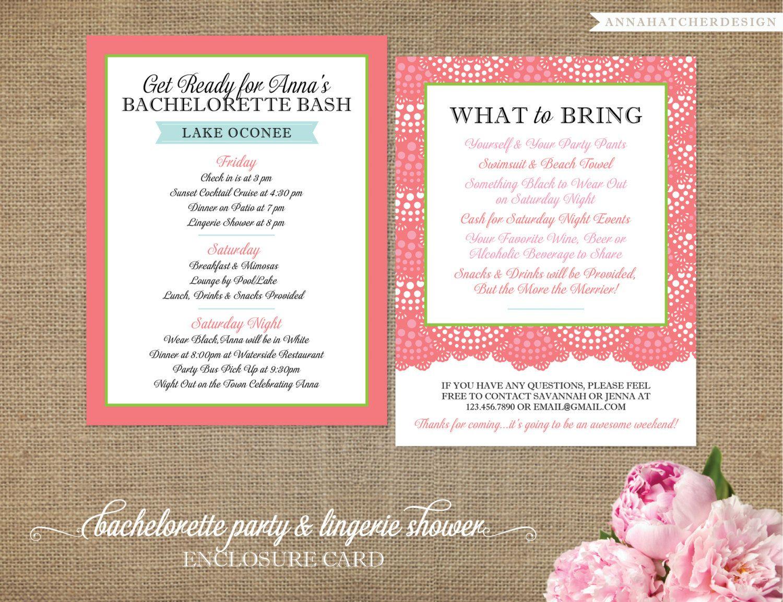 Bachelorette PartyWeekendLingerie Shower InvitationsMatching – Bachelorette Party Weekend Invitations