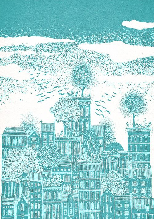 Celestial Citiesis a bright and bold new print collection,...