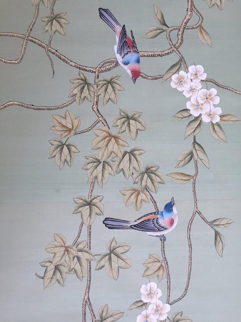 Chinoiserie Handpainted Silk Wallpaper Vines And Birds In Etsy In 2020 Silk Wallpaper Hand Painted Fabric Wallpaper