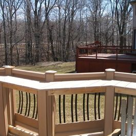 Built In Bar Ledge Atop Deck Rails For Style And Purpose Houzz