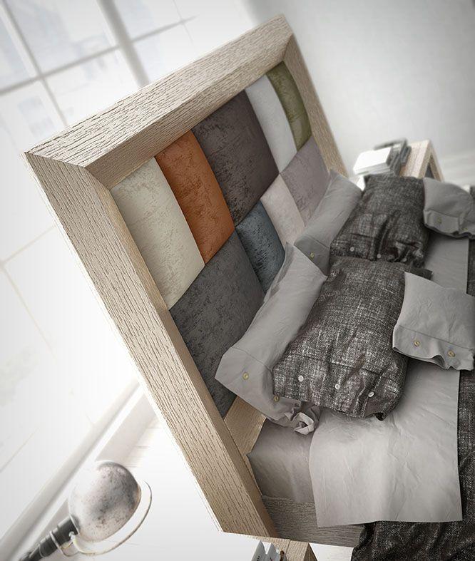 Cabecero tapizado con marco en roble. Los colores del tapizado son ...