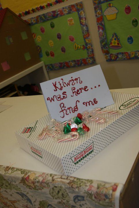 """elf brought donuts and note said: """"[elf] was here...find me."""""""