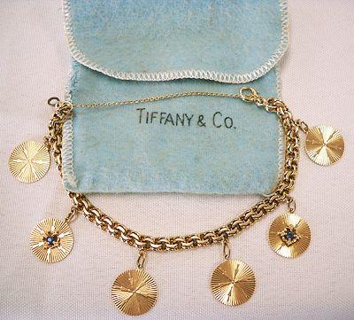 tiffany jewelry TIFFANY 14K GOLD CHARM BRACELET charming