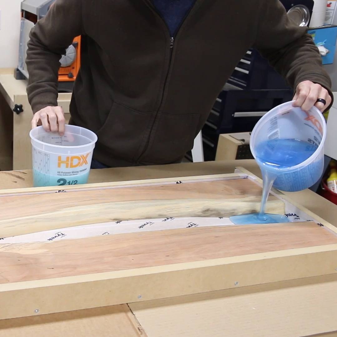 DIY Epoxy River Table with Waterfall is part of Epoxy resin table, Epoxy resin wood, Epoxy resin crafts, Wood resin table, Epoxy wood table, Resin table - How to build a DIY epoxy resin river table with waterfall feature from a live edge slab  I'll show you how to pour thick epoxy resin pours, how to cut a waterfall joint, and how to finish an epoxy river table  Full video tutorial included!