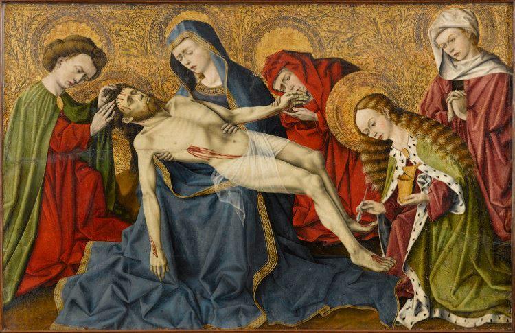 Assez Peinture provençale du XVe siècle présente le thème de la Pietà  VB12