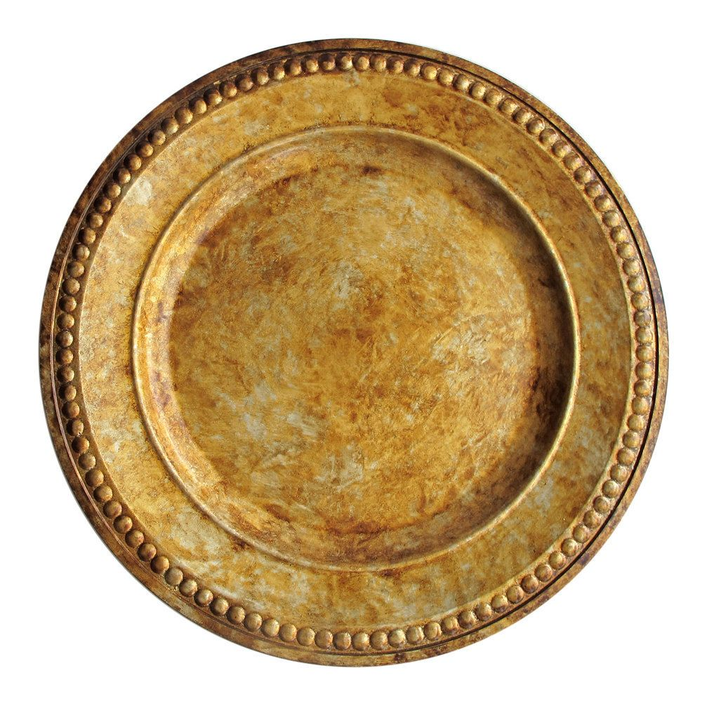 "Wholesale Event Solutions - Case of 12 Round 14"" Beaded Gold Acrylic Charger Plates @ $13.95/pc, $167.40 (https://www.eventswholesale.com/case-of-12-round-14-beaded-gold-acrylic-charger-plates-13-95-pc/)"