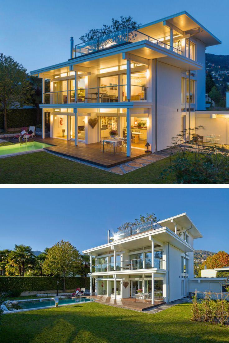 Modernes Fachwerk Haus Mit Flachdach Architektur & Garage