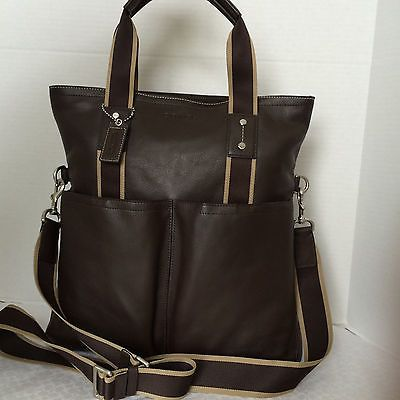 a87c15afd2 Nwt coach mens heritage web leather foldover tote messenger shoulder ...