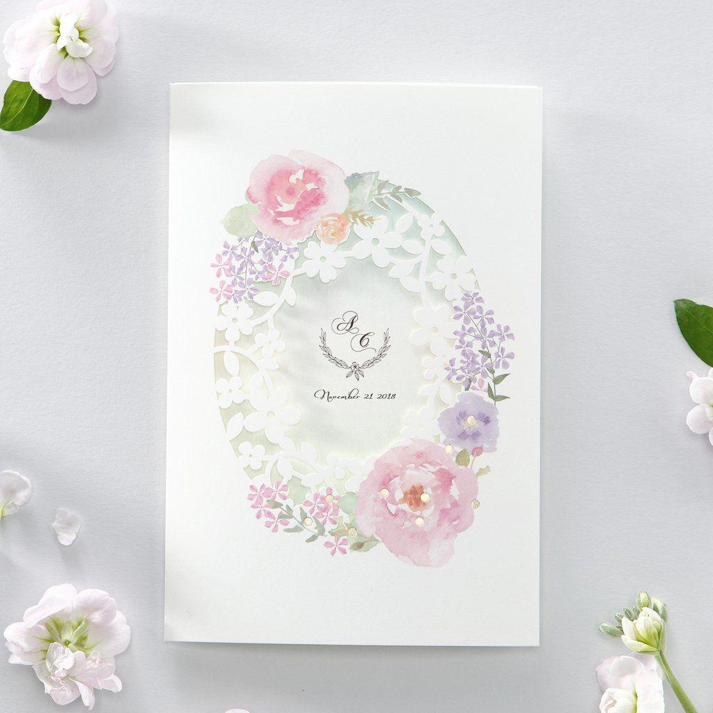 Wedding decorations muslim october 2018 Watercolor Flower Laser Cut Floral Wedding Invitation Print both