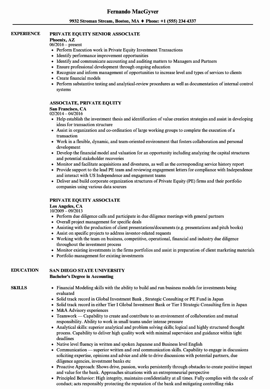 Private Equity Resume Examples Luxury Private Equity