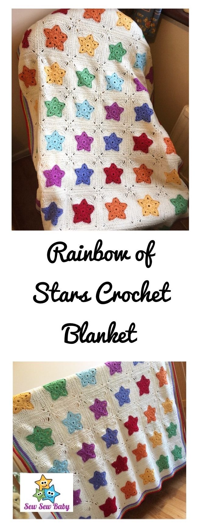 Rainbow of Stars Blanket Crochet Pattern | Manta, Colchas y Ganchillo