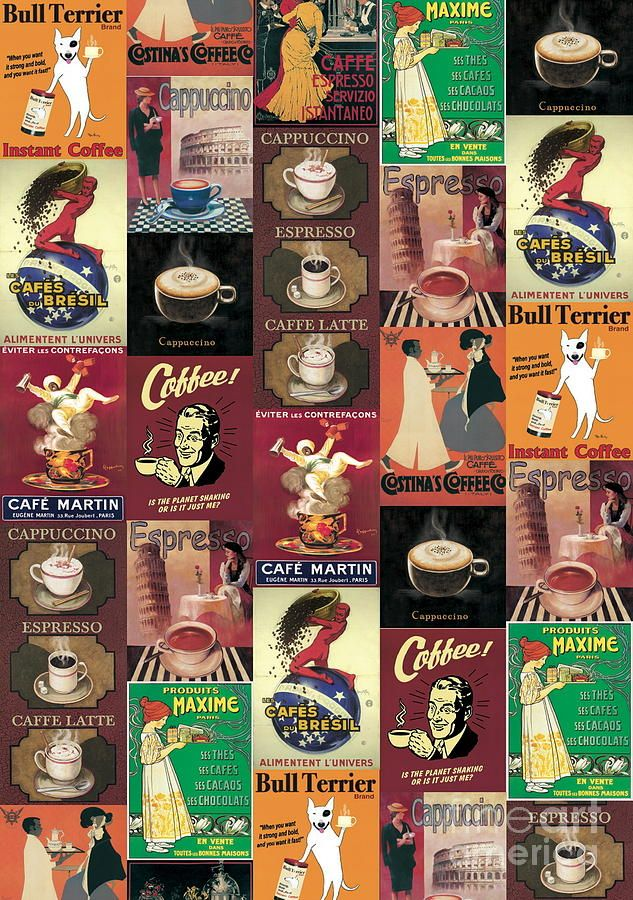 Vintage Italian Poster Imported From Florence Cafe Coffee Digital Art